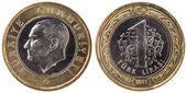 1 Turkish lira coin, 2011, both sides — Stock Photo