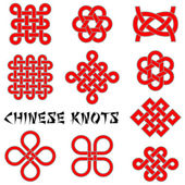 A collection of Chinese knots — Stock Vector