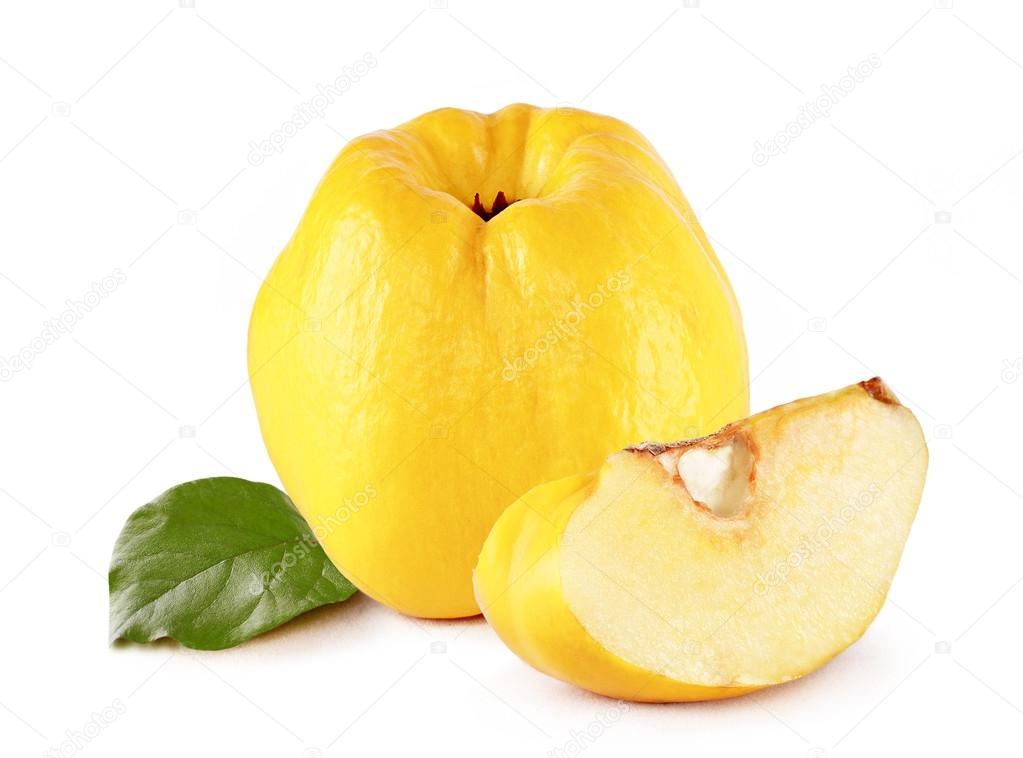 Fresh yellow quince with slice and leaf  isolated white background  Stock Photo #19758759