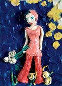 A garota romântica com flores — Fotografia Stock