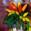 Stock Photo: Fresh green, yellow and red pepper bunch