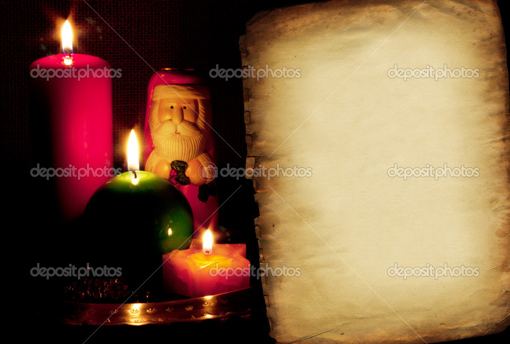 Christmas card with Santa Claus and candles — Stock Photo #17359427
