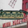 Stock Photo: Paris Metro Metropolitain Sign near Moulin Rouge