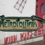 Paris Metro Metropolitain Sign near Moulin Rouge — Stock Photo