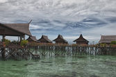 Kapalai Resort view Turquoise Tropical Paradise Crystal Water Borneo Indonesia — Stock Photo