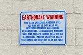 Earthquake Warning Wall Sign in Anchorage, Alaska USA — Stock Photo