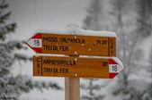 Schneeflocken fallen auf spur zu unterzeichnen, in der winterzeit — Stockfoto