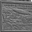 Ny Alesund Transpolar Flight 1926 memorial plaque — Stock Photo