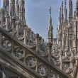 Milan Dome Cathedral steeples spires — Stock Photo
