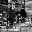 Foto Stock: Vancouver Canada Place night cityscape in black and white