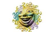 Viareggio Italy Carnival the smiling sun on white background — Stock Photo