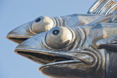 Viareggio Italy Carnival Show Band Wagon silver paper fish — Stock Photo