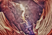 Antelope Canyon view with light rays — Stock Photo