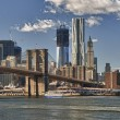 New York City HDR Panorama View with Brooklyn Bridge - Stock Photo