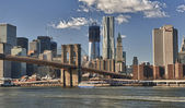 New York City HDR Panorama View with Brooklyn Bridge — Stock Photo