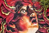 San Francisco Haight Asbury colorful wall painting medusa jellyfish like — Stock Photo