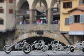 Florence Ponte Vecchio view with toy motorbike — Stock Photo