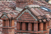 Bologna Italy medieval building brick roof chemney — Stock Photo