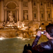 Stock Photo: Rome night view of Fontandi Trevi fountain