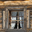 Old wood cabin house window — Stock Photo