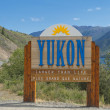 Yukon Gold Rush White Pass sign — Stock Photo