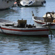 Boat for fishing by lamplight in Mediterranean — Stock Photo