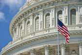 Washington DC Capital detail with american flag — Foto Stock