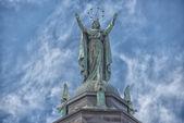 Montreal church copper statue — Stock Photo