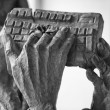 Hands holding computer keyboard — Foto Stock