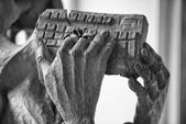 Hands holding computer keyboard — Stock Photo