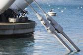 Harbor metal cranes — Stock Photo