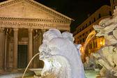 Rome pantheon place fountain — Stock Photo