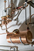 Copper still alembic inside distillery — Stock Photo
