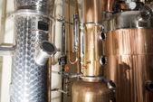 Copper still alembic inside distillery — Stock Photo