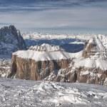 Pordoi mountains on winter time — Stock Photo