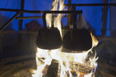 Cooking on the campfire — Stock Photo