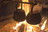 Cooking on the campfire — Fotografia Stock