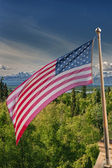 Usa American flag stars and stripes on mount McKinley background — Stock Photo