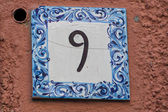 Ceramic number tile 9 — Stock Photo
