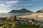 Skagsanden Lofoten Island white beach — Stock Photo
