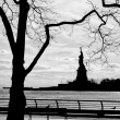 New York statue of liberty vertical silhouette b&w — ストック写真