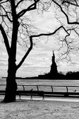 New York statue of liberty vertical silhouette b&w — Stock Photo
