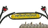 Paris Metro Metropolitain Sign isolated on white — Foto de Stock