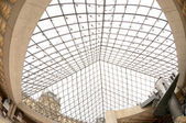Louvre pyramid from inside — Stockfoto