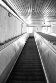 Washington DC Metro escalator  in black and white — Stock Photo