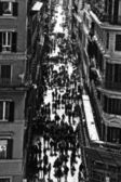 Rome trinita dei monti church and obelisk — Stock Photo