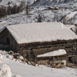 Dolomites hut cabin in winter snow time — Stock Photo