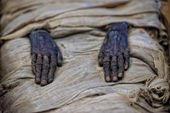Egyptian mummy hands — Stock Photo