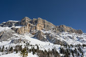 Dolomites huge panorama view in winter snow time — Stock Photo