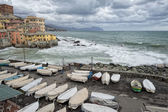 Sea Storm on Genova pictoresque boccadasse village — Стоковое фото